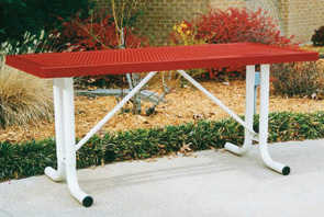 Model RT6-P | Rectangular Outdoor Portable Table | Traditional Style (Red/White)