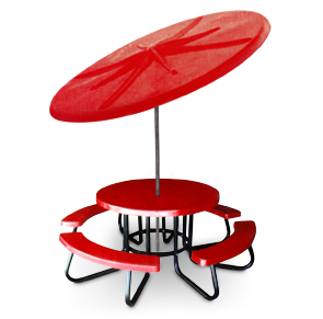 "Model RTRCF-UH | 48"" Round Fiberglass Table (Red)"