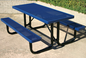 Model RU6-P | 6ft Thermoplastic Traditional Picnic Table (Blue/Black)