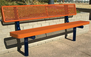 Model RU6WB-I | Thermoplastic Park Bench (Orange/Blue)