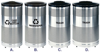 Round Recycling Trash Receptacle Collection