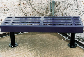 Model S6NB-S | Thermoplastic 6' Slat Style Bench (Mariner/Black)