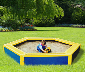 Model SANDBOX | Thermoplastic Coated Kids Sandbox (Mystic/Yellow)
