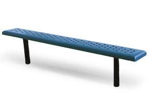 Model SBG-6PS | 6' Perforated Steel Sports Bench with Powder Coated Frame (Blue/Black)