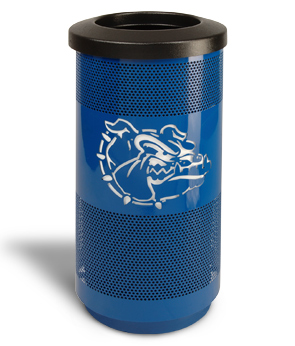 Model SC20-02 | Perforated Steel Round Trash Can (Blue Streak)