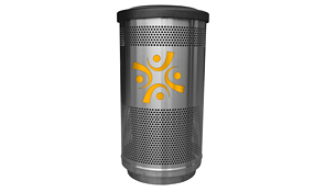 Model SC35-02-SS-FT | Perforated Stainless Steel Round Trash Can