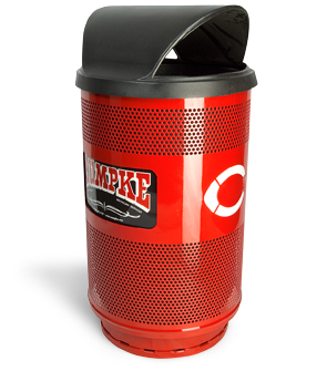 Model SC55-03 | Perforated Steel Round Trash Can (Red Baron)