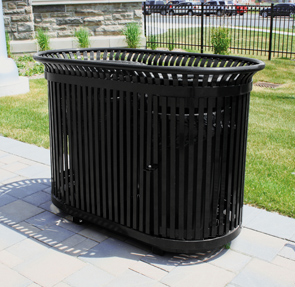 Model SFT34X2D | Dual 34 Gallon Steel Litter Receptacle | Sentinel Style (Black)