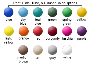Roof, Slide, Tube, and Climber Color Options