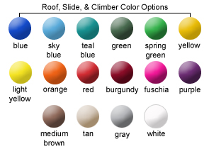 Roof, Slide, and Climber Color Options