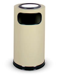 Model SO16SUEAL | Almond Powder-Coated Steel Trash Receptacle with Side Opening and Cigarette Waste Sand Top