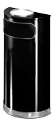 Model SO8SU-20B | Decorative European Series Black/Mirror Chrome Half Round Indoor Ash/Trash Receptacle