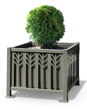 Model SPCP31 | Spencer Series Powder-Coated Steel Square Planter (Bay Fog)