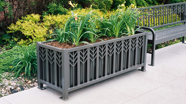 Model SPCP63 | Spencer Series Powder-Coated Steel Rectangular Planter (Bay Fog)