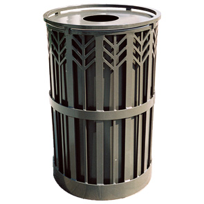 Model SPCT32 | Steel Powder-Coated Trash Receptacle (Rapid Tan III)