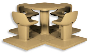 Model SQ480 | Concrete Table Sets (Sand Tan)