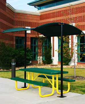 Model STS765SM | Outdoor Mini-Shade Canopy Shade Structure Shown with Optional Thermoplastic Picnic Table