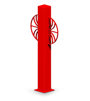 Model SUNBB | Sunrise Series Bollard Bike Rack (Red Wagon)