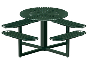 Model SUNRND | Sunrise Series Round Powder-Coated Steel Table (Pro Green II)