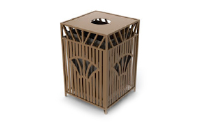 Model SUNT32 | Decorative Outdoor Trash Can | Sunrise Series (Spartan Bronze)