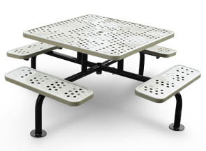 Model SXS-4PS-S | Square Surface Mounted Picnic Table with Umbrella Hole (White/Black)