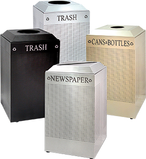 Square Silhouette Recycling Receptacles