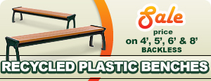 Recycled Plastic Backless Park Benches with Aluminum Frame