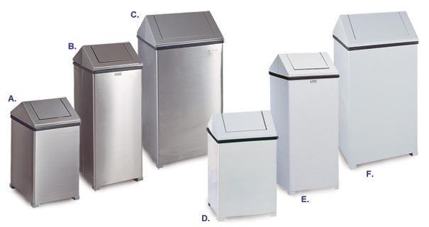 Square Swing Top Steel Trash Receptacles Collection