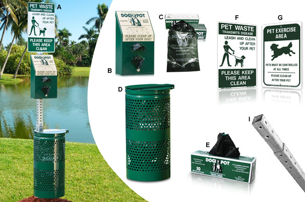 DOGIPOT® Pet Waste Station with Powder-Coated Steel Trash Receptacle Collection