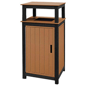 Model T32 | 32 Gallon Recycled Plastic Two-Toned Receptacle (Black/Cedar)