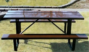 Model S6-P | Traditional Thermoplastic Solid Plank Picnic Tables (Brown/Black)