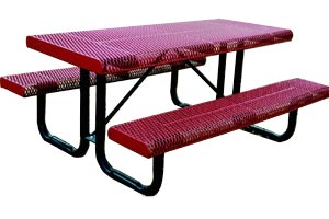Model RR6-P | Portable Picnic Table | Expanded Rolled Style (Burgundy/Black)