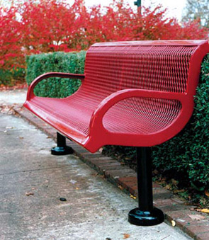 Model T6WB-S | Thermoplastic 6' Traditional Style Bench (Red/Black)