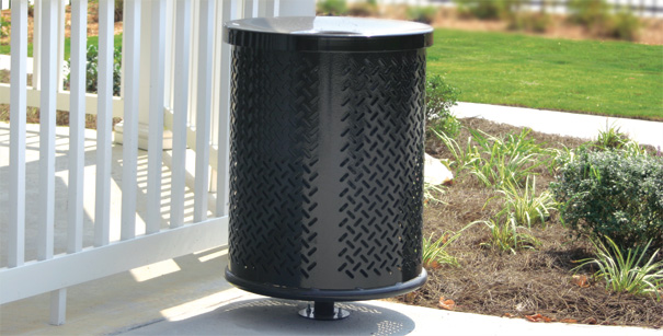 Model TB3 | Perforated Steel Trash Receptacles and Covers (Black)
