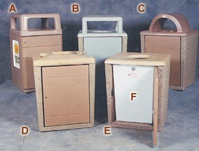 Square Concrete Trash Receptacle Collection