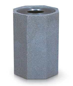 Model TCH-CUS1 | Octagon Concrete Trash Receptacle in Slate Stone Etch Finish with Spun Alumin Lid
