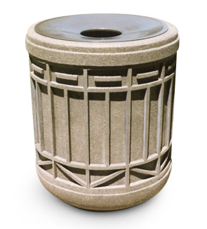 Model TCR-COL | Colonial Series Concrete Trash Receptacle (Sand Tan | LSB Finish)