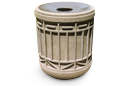 Colonial Series Round Concrete Trash Receptacle with Spun Aluminum Lid