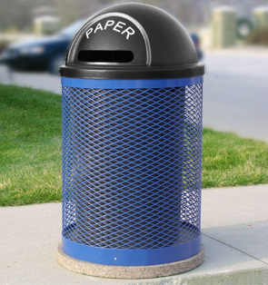 Model TCR-M-RCY | Commercial Trash Receptacle (Paper/Black)