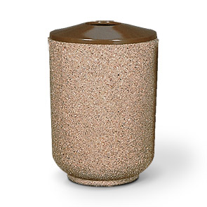 Model TCR-MP-30-A | Round Concrete Trash Can with Flat Top (Perma Stone | Light Brown)