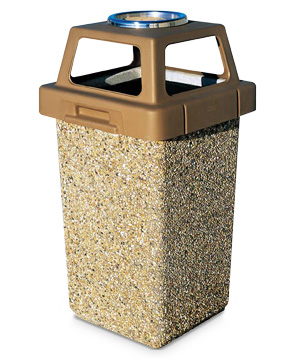 Model TF1009 | Concrete Waste Receptacle with Four-Way Lid (Sand)