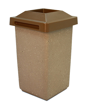 Model TF1010 | Concrete Waste Receptacle with Four-Way Lid (Brown)