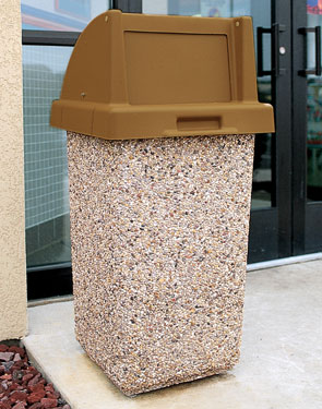 Model TF1015 | Concrete Waste Receptacle with Push Door Lid