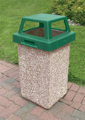 Model TF1016 | Concrete Waste Receptacle with Four-Way Lid (Misty Gray)
