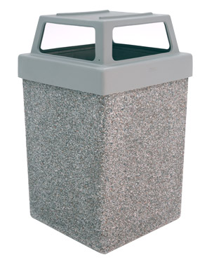 Model TF1040 | Square Concrete Trash Receptacle (Misty Gray)