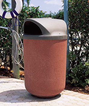 Model TF1100 | Round Concrete Trash Receptacle (Misty Gray)