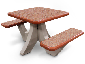 Model TF311512 | Square Concrete Commercial Picnic Table (Brick Red/Buff)