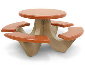 Model TF312512 | Solid Color Polished Concrete Round Picnic Table (Brick Red/Sand)