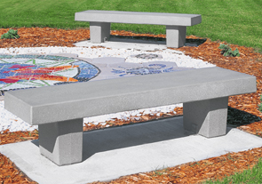 Model TF5029 | Classic Precast Concrete Park Bench (Gray)
