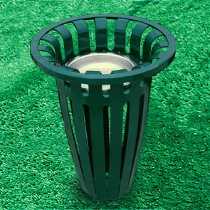 Model TR11AU | Crown Ribbed Steel Thermoplastic Coated Ash Urn (Green)